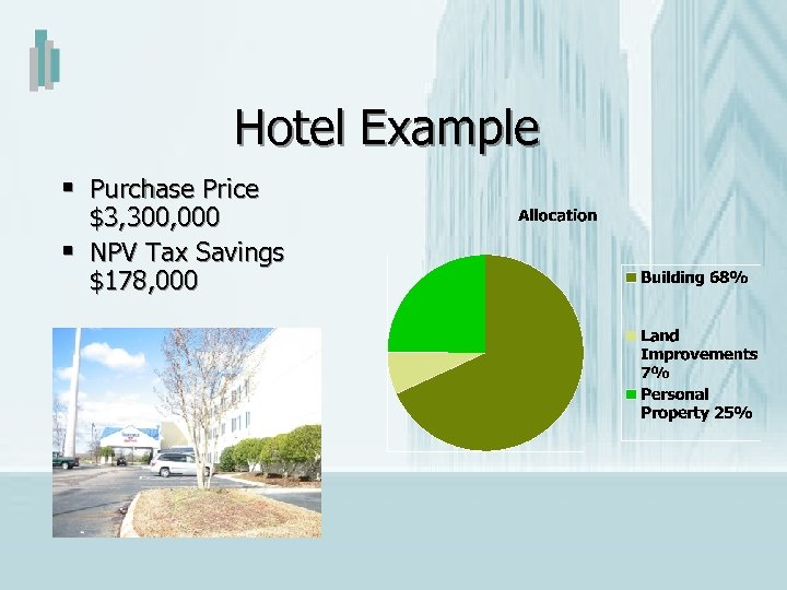 Hotel Example § Purchase Price § $3, 300, 000 NPV Tax Savings $178, 000