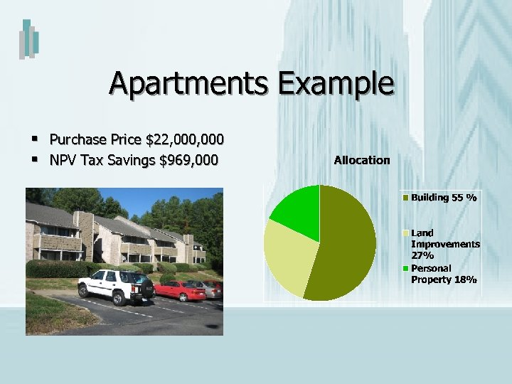 Apartments Example § Purchase Price $22, 000 § NPV Tax Savings $969, 000