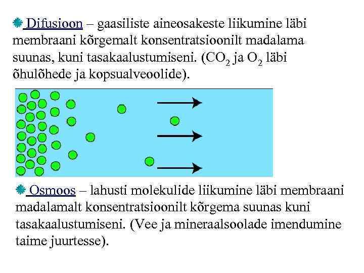 Difusioon – gaasiliste aineosakeste liikumine läbi membraani kõrgemalt konsentratsioonilt madalama suunas, kuni tasakaalustumiseni. (CO