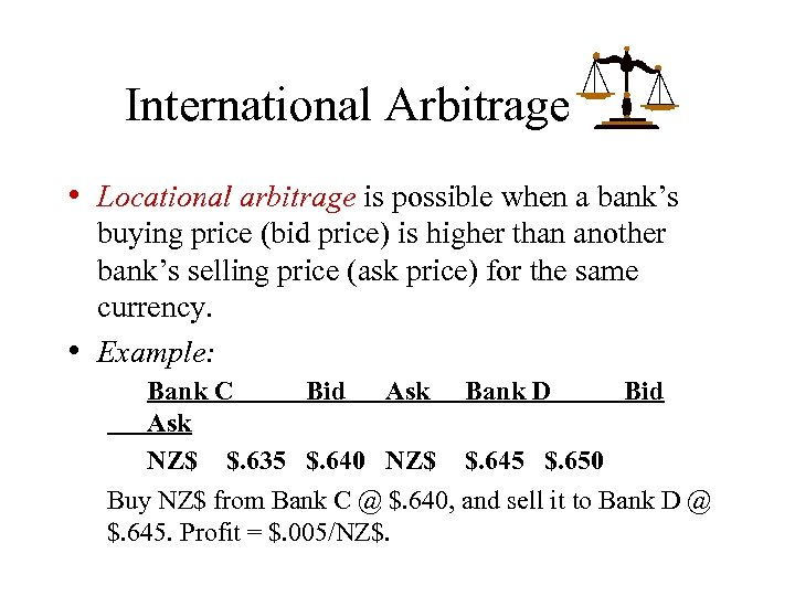 International Arbitrage • Locational arbitrage is possible when a bank's • buying price (bid