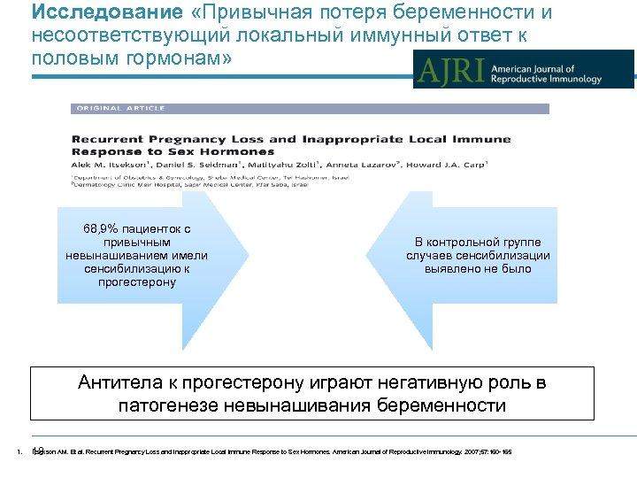 Исследование «Привычная потеря беременности и несоответствующий локальный иммунный ответ к половым гормонам» 68, 9%