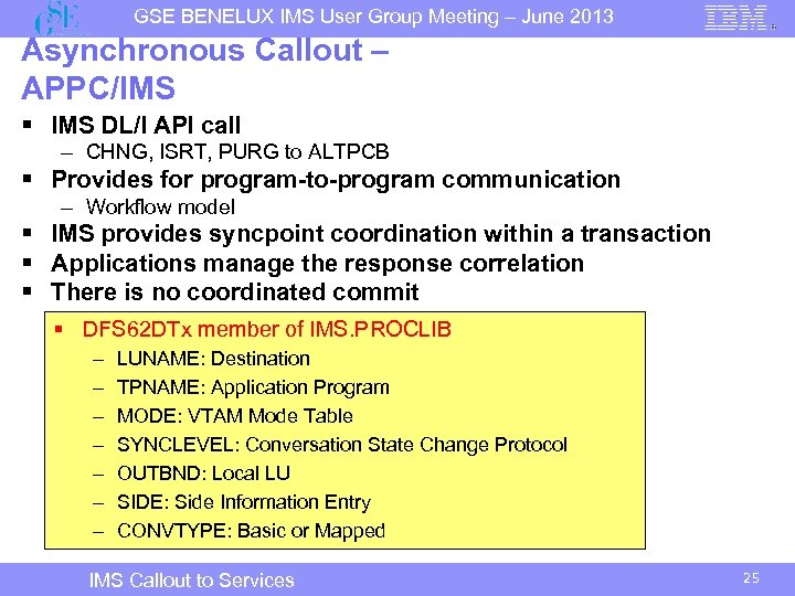 GSE BENELUX IMS User Group Meeting – June 2013 Asynchronous Callout – APPC/IMS §