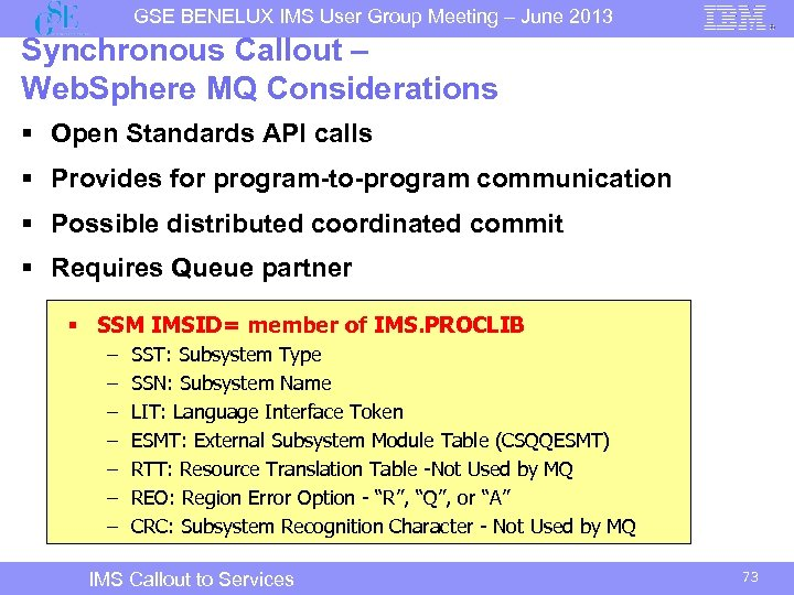 GSE BENELUX IMS User Group Meeting – June 2013 Synchronous Callout – Web. Sphere