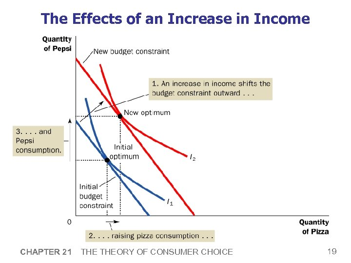 The Effects of an Increase in Income CHAPTER 21 THEORY OF CONSUMER CHOICE 19