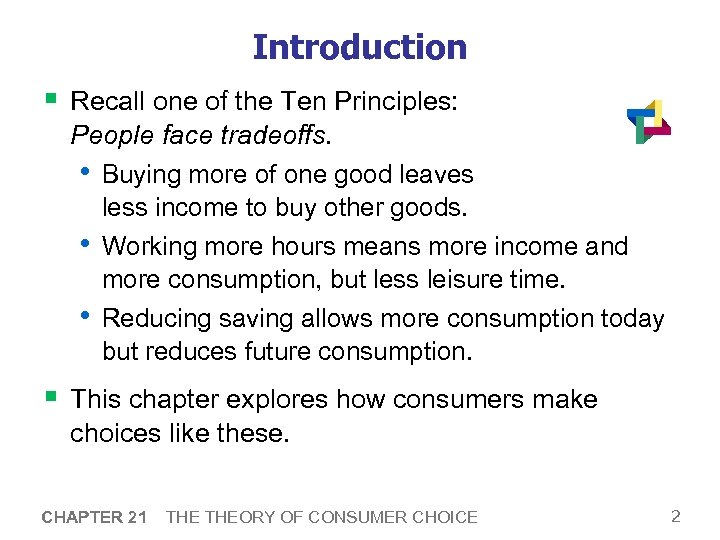 Introduction § Recall one of the Ten Principles: People face tradeoffs. • Buying more