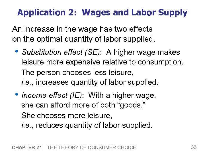 Application 2: Wages and Labor Supply An increase in the wage has two effects