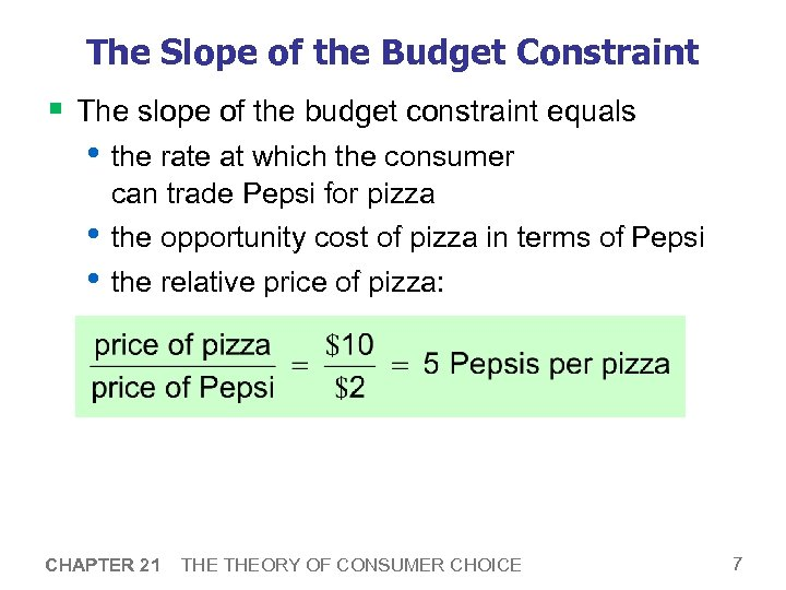 The Slope of the Budget Constraint § The slope of the budget constraint equals
