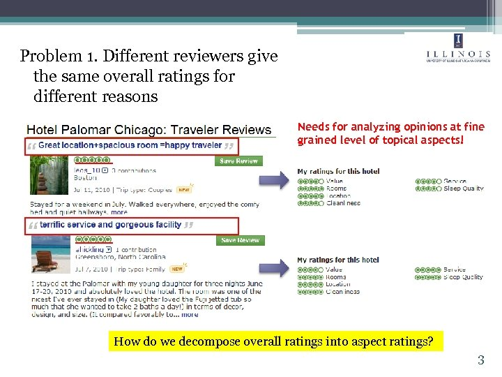 Problem 1. Different reviewers give the same overall ratings for different reasons Needs for