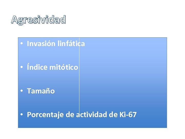 Agresividad • Invasión linfática • Índice mitótico • Tamaño • Porcentaje de actividad de