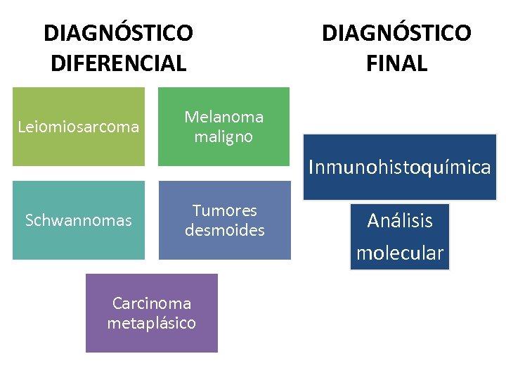DIAGNÓSTICO DIFERENCIAL Leiomiosarcoma DIAGNÓSTICO FINAL Melanoma maligno Inmunohistoquímica Schwannomas Tumores desmoides Carcinoma metaplásico Análisis