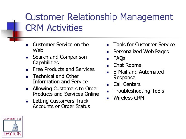 Customer Relationship Management CRM Activities n n n Customer Service on the Web Search