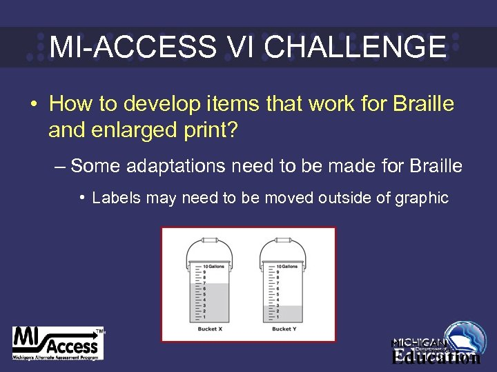 MI-ACCESS VI CHALLENGE • How to develop items that work for Braille and enlarged