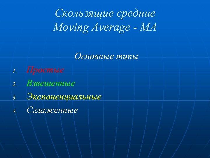 Скользящие средние Moving Average - MA Основные типы 1. 2. 3. 4. Простые Взвешенные