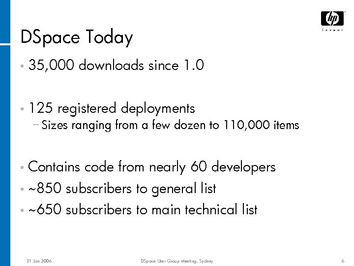 DSpace Today • 35, 000 • 125 downloads since 1. 0 registered deployments −
