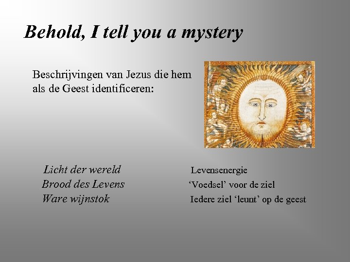 Behold, I tell you a mystery Beschrijvingen van Jezus die hem als de Geest