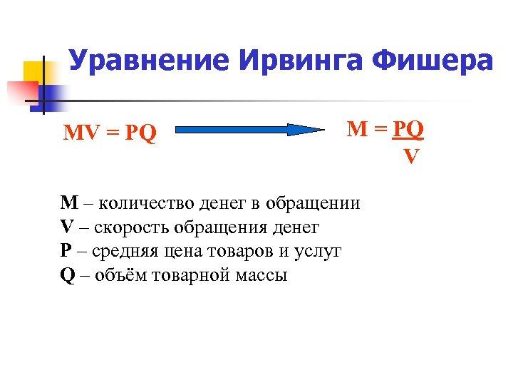 Уравнение Ирвинга Фишера MV = PQ M = PQ V M – количество денег