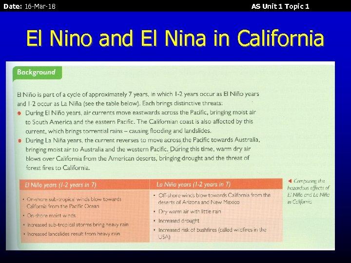 Date: 16 -Mar-18 AS Unit 1 Topic 1 El Nino and El Nina in