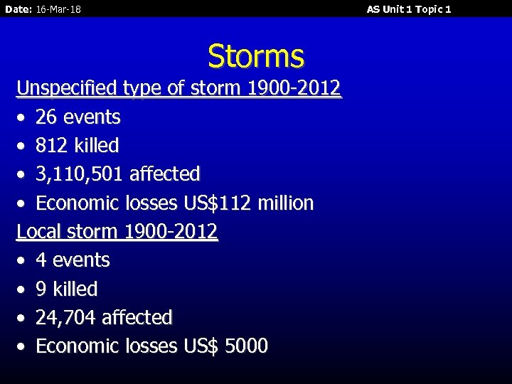 Date: 16 -Mar-18 AS Unit 1 Topic 1 Storms Unspecified type of storm 1900