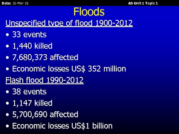 Date: 16 -Mar-18 Floods AS Unit 1 Topic 1 Unspecified type of flood 1900