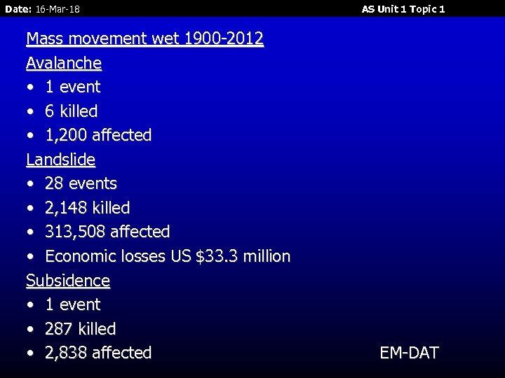 Date: 16 -Mar-18 Mass movement wet 1900 -2012 Avalanche • 1 event • 6