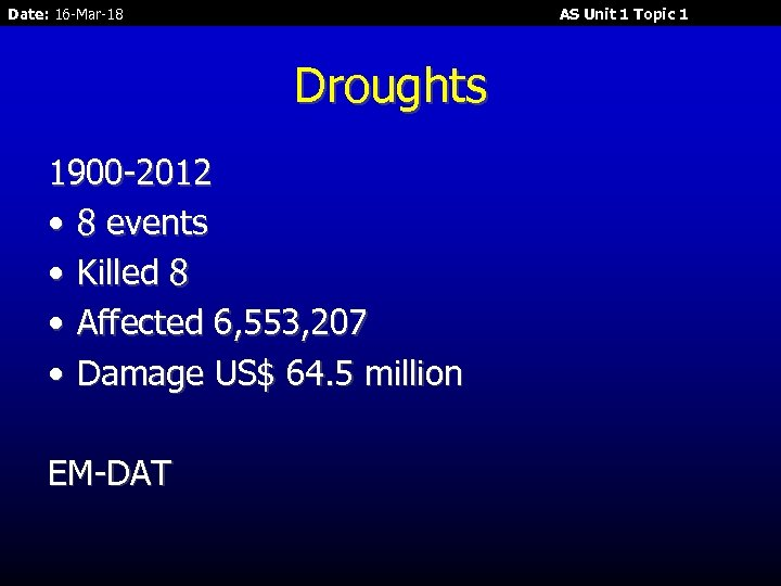 Date: 16 -Mar-18 AS Unit 1 Topic 1 Droughts 1900 -2012 • 8 events