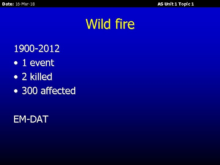Date: 16 -Mar-18 AS Unit 1 Topic 1 Wild fire 1900 -2012 • 1
