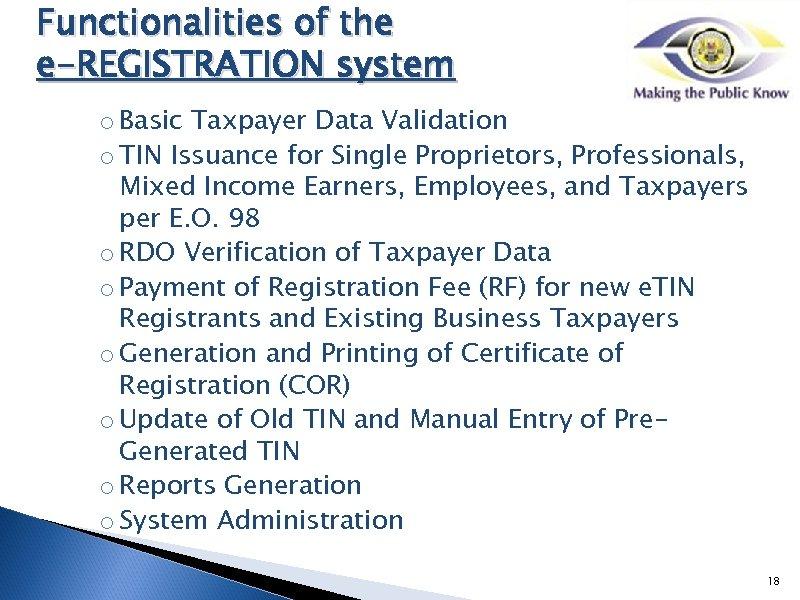 BIR e Services Presented by Mr Victor O