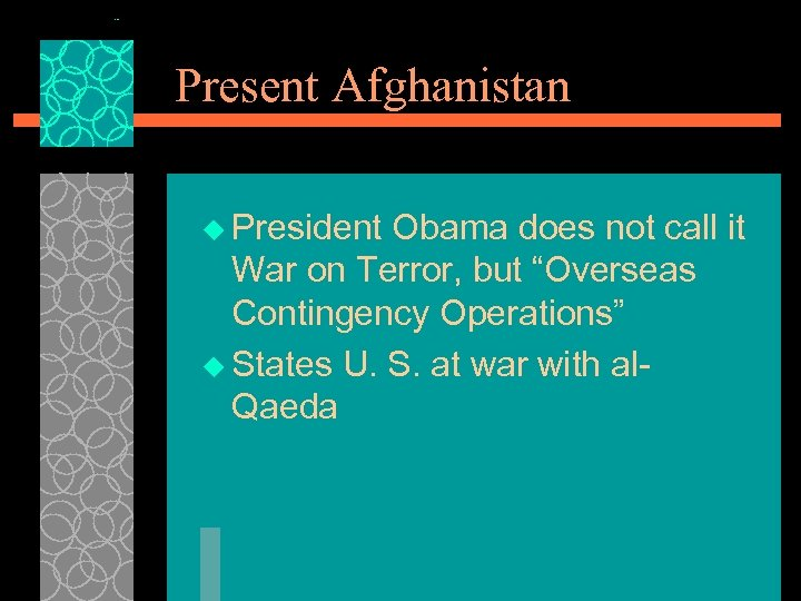 "Present Afghanistan u President Obama does not call it War on Terror, but ""Overseas"