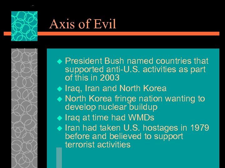 Axis of Evil President Bush named countries that supported anti-U. S. activities as part
