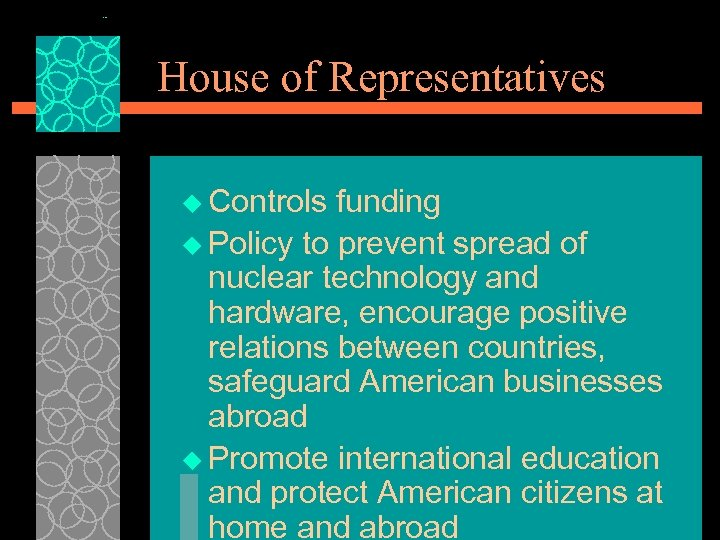 House of Representatives u Controls funding u Policy to prevent spread of nuclear technology