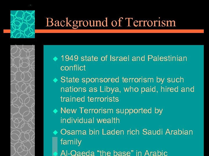 Background of Terrorism 1949 state of Israel and Palestinian conflict u State sponsored terrorism