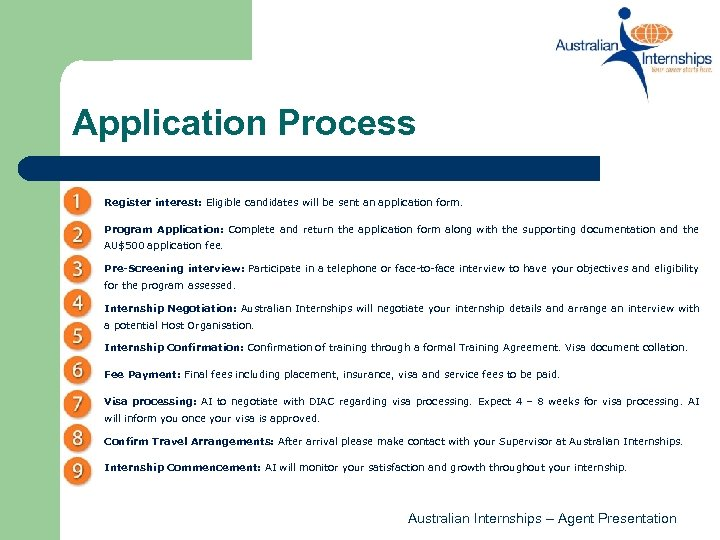 Application Process Register interest: Eligible candidates will be sent an application form. Program Application:
