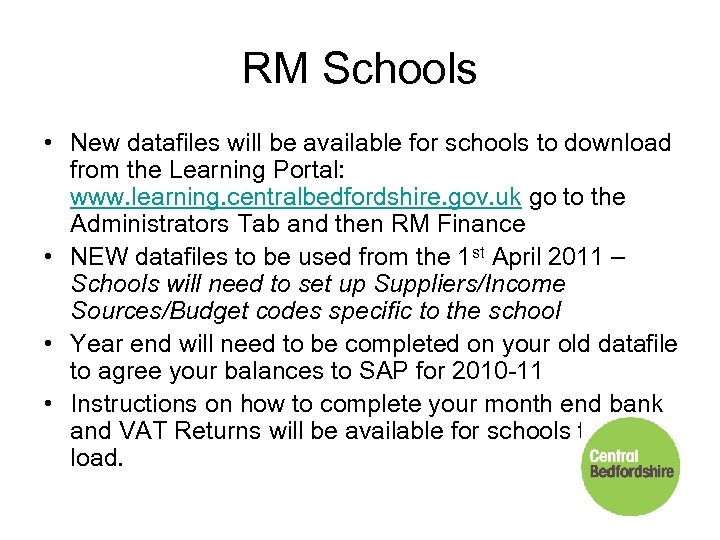 RM Schools • New datafiles will be available for schools to download from the