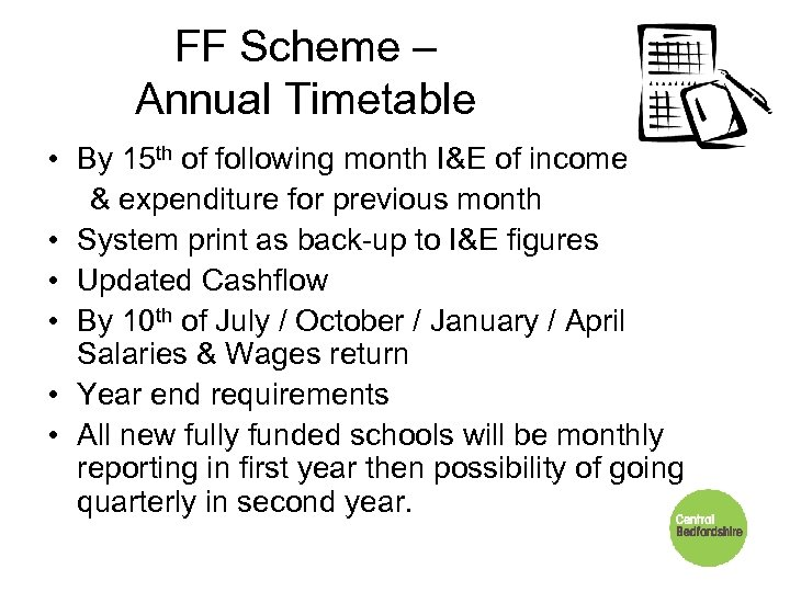 FF Scheme – Annual Timetable • By 15 th of following month I&E of