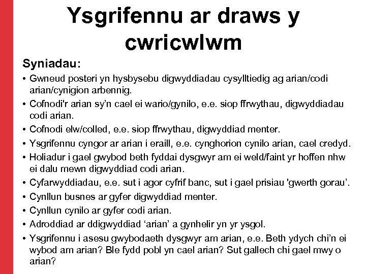 Ysgrifennu ar draws y cwricwlwm Syniadau: • Gwneud posteri yn hysbysebu digwyddiadau cysylltiedig ag