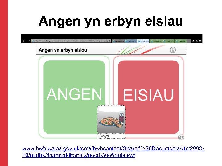 Angen yn erbyn eisiau www. hwb. wales. gov. uk/cms/hwbcontent/Shared%20 Documents/vtc/200910/maths/financial-literacy/needs. Vs. Wants. swf