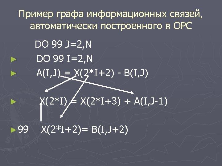 Пример графа информационных связей, автоматически построенного в ОРС ► ► DO 99 J=2, N