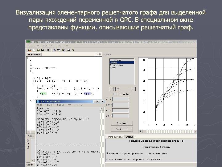 Визуализация элементарного решетчатого графа для выделенной пары вхождений переменной в ОРС. В специальном окне