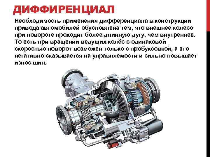 ДИФФИРЕНЦИАЛ Необходимость применения дифференциала в конструкции привода автомобилей обусловлена тем, что внешнее колесо при