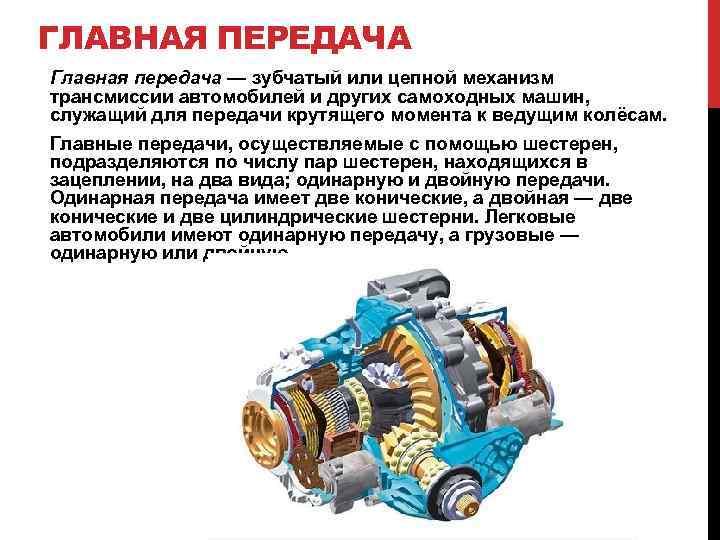 ГЛАВНАЯ ПЕРЕДАЧА Главная передача — зубчатый или цепной механизм трансмиссии автомобилей и других самоходных