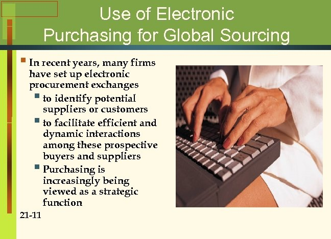 Use of Electronic Purchasing for Global Sourcing § In recent years, many firms have