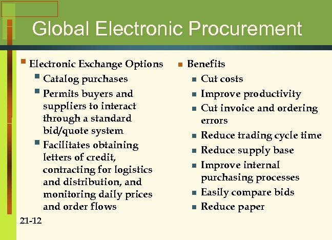 Global Electronic Procurement § Electronic Exchange Options § Catalog purchases § Permits buyers and