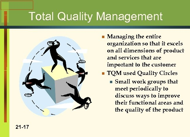 Total Quality Management n n 21 -17 Managing the entire organization so that it