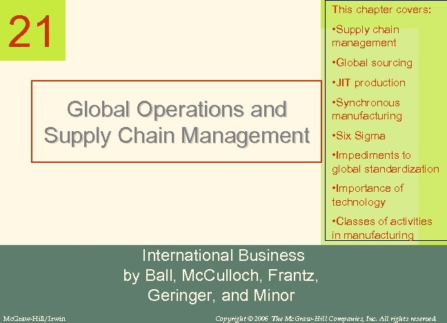 This chapter covers: 21 • Supply chain management • Global sourcing • JIT production