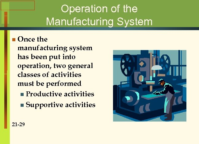 Operation of the Manufacturing System n Once the manufacturing system has been put into