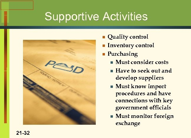 Supportive Activities n n n 21 -32 Quality control Inventory control Purchasing n Must