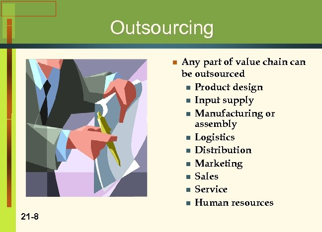 Outsourcing n 21 -8 Any part of value chain can be outsourced n Product