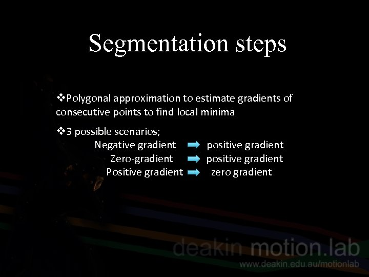 Segmentation steps v. Polygonal approximation to estimate gradients of consecutive points to find local