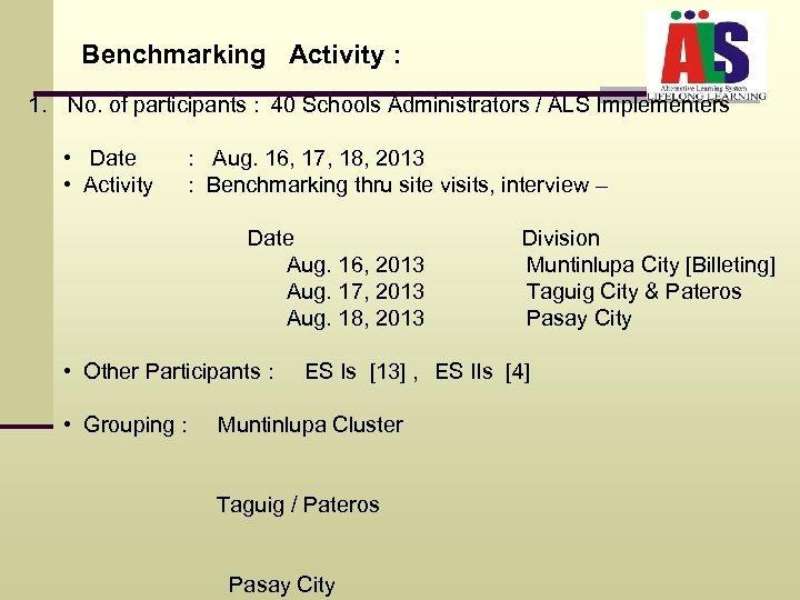 Benchmarking Activity : 1. No. of participants : 40 Schools Administrators / ALS Implementers