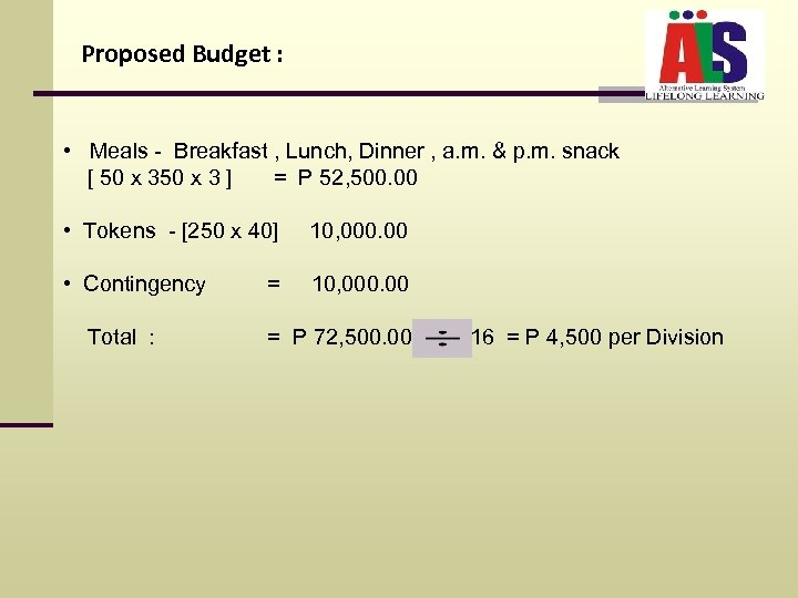 Proposed Budget : • Meals - Breakfast , Lunch, Dinner , a. m. &
